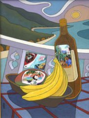 Still life in forground with bananas, bottle of rum, coastal road to Port Douglas in the background
