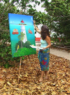 Louise Collier paints near the lighthouse at Low Island