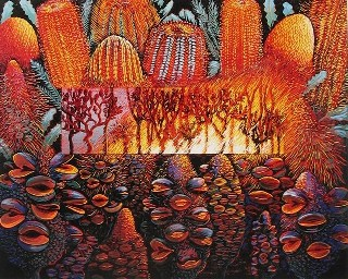 Anna Curtis lino print, 'Paradox' - banksias and fire - oranges and browns