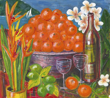 'Tangerines' - colourfyl painting of tangerines in a bowl with a vase of orange heliconias, limes, frangipani flowers and ocean with yacht in background. Wine glasses and wine bottle in foreground.