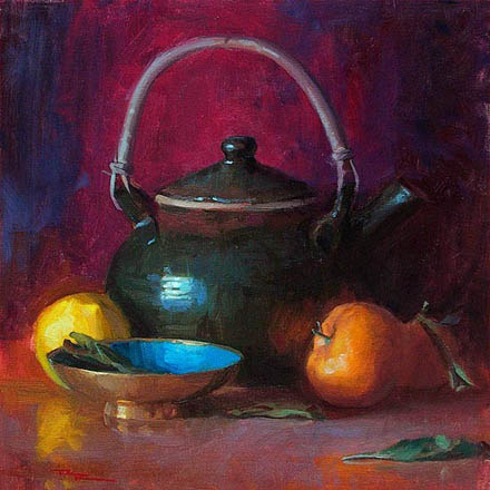 Richard Robinson - 'Still Life with Teapot' - oil on canvas