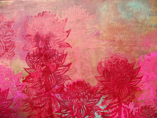 'Gold Waratahs' - pinks and gold, detail from large panels.