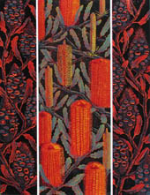 panels of red banksia flowers