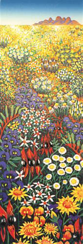 Anna linoprint of Western Australian wildflowers growing in the bush - detail of linoprint