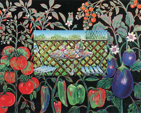 'Lunch on the Verandah wit the Solanaceae Family' - garden vegetables on black background surround an image of a table set for lunch for two - linoblock print..