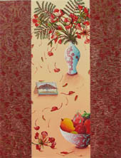 poinciana flowers in vase, red petals falling - detail