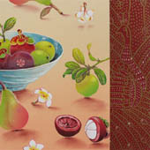 Detail of  still life, mangosteen fruit on table in foreground