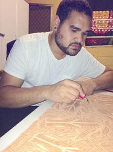 Teho Ropeyarn works on lino-cut