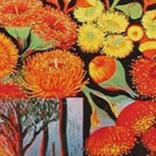 Anna Curtis, red flowering gum, linoprint - detail