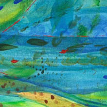 Jill Booth 'The Ocean' - blues, greens and turquoises, abstract - detail