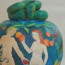 Judy Richards - Adam and Eve in Garden of Eden - Eden - painted ceramic pot - detail
