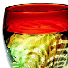 Hoglund Art Glass, red and greens incalmo vase