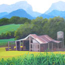 Tania Heben - cane cottages with sugar plantations and mountains behind - detail