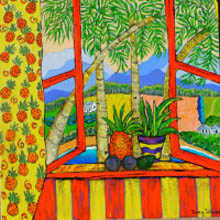 Terry Johnson, pineapples on window sill, looking through to landscape beyond