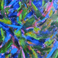 Abstract blue, pink and green shapes move across the canvas.