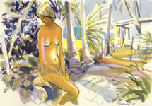 Painting of nude seated figure in garden