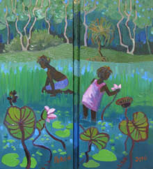 Tania Heben postcard - aboriginal children picking waterlilies, jungle behind