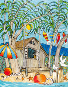 Terry's painting 'Holiday Hideaway' - beach shack with fish hanging on line, fishermen's floats in foreground
