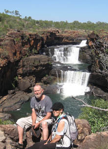 Frieda and Colin at waterfall on Mitchell Plateau