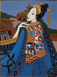 Chinese Princess from Puccini's opera with panel of images on her cloak