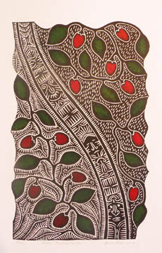 linoprint, plant fruiting, symbols curve in the centre