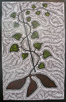 linoprint - plant growing, green heart-shaped leaves