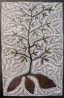 yam plant sprouting, linoprint