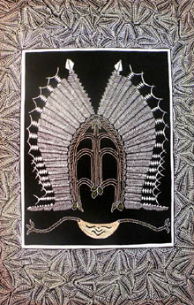 Torres Strait headdress, breastplate below - linoprint
