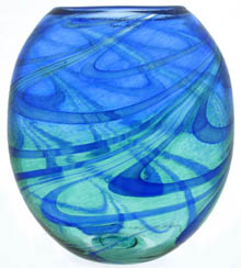 Marie Hoglund, blue  and aqua swirls decorate glass vase form