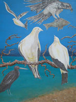 the first in a triptych, this painting depicts Torres Strait pigeons nesting on Low Isles.