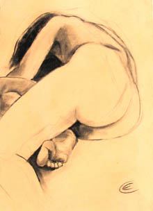 Christine Eyres, female nude lying curled, one leg closest to viewer