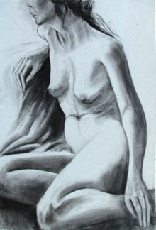 Christine Eyres, female nude, seated - charcoal drawing