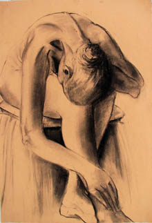 Christine Eyres, drawing of female seated model bending forward, holding her ankles