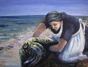 'Clyde Woman' - woman in white apron and black dress and scarf wrestles a huge fish from the seashore.