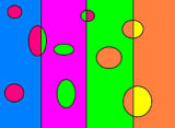 'Bubbles' - brightly coloured circles on brightly coloured backgrounds.