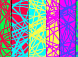 criss-crossing lines of various colours on contrasting backgrounds - computer generated