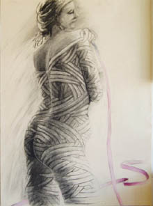 Female nude drawing, wrapped in bandages or ribbons.