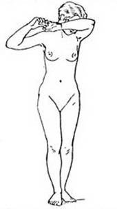 outline of front view of naked female figure, standing, arm across eyes