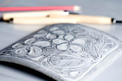 Student's lino block carving ready to print