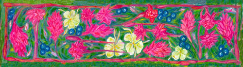 Pink flowering gingers scarf, a prize in th ephoto competition.
