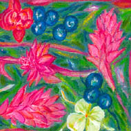 scarf design - pinks and white of ginger flower, blue ginger berries on green background