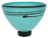 pale turquoise glass bowl with black decoration