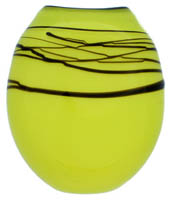lime coloured glass vase form with black details