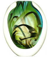 glass vase form -graal, swirls of green