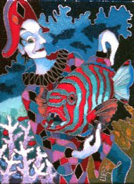 Brightly coloured Harlequin fish held by harlequin