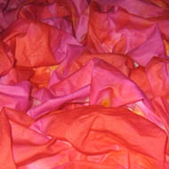 silk just dyed - reds with a touch of pink - still wet
