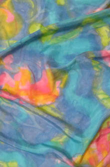 hand painted silk length - turquoiuse with contrasting pinks and corals, abstract
