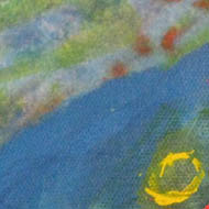 'Ocean' - blues and greens, yellow circle in foreground