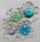 blues and greens glass and silver 'sea urchins' pins