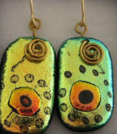 'Waterhole' dichroic glass earrings green and gold